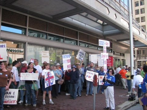 Hoosiers for a Common Sense Health Plan Demonstrate outside Senator Birch Bayh's office.