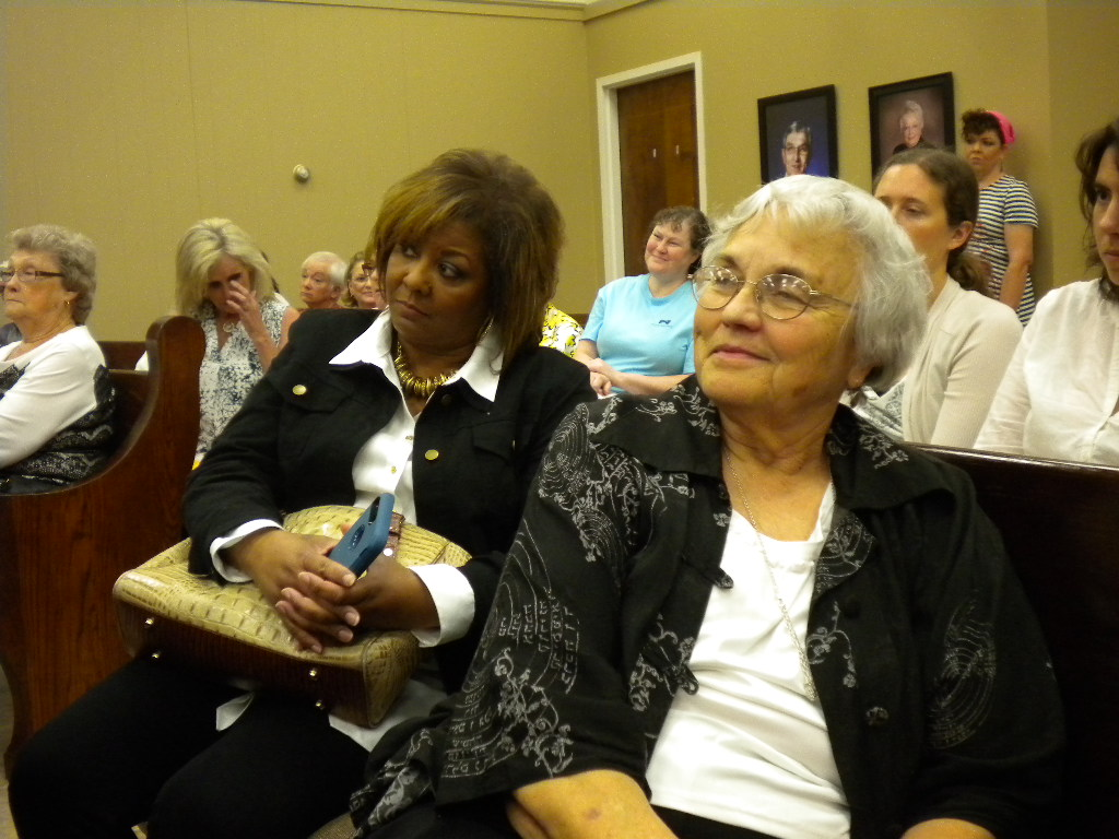 Judy Tuggle of Mayfield (on the right) at Comer's Town Hall in Benton, KY