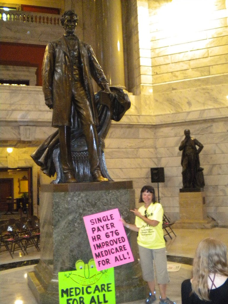 Christine Perlin-Gump at a rally for health care in the Capitol Building in Frankfort