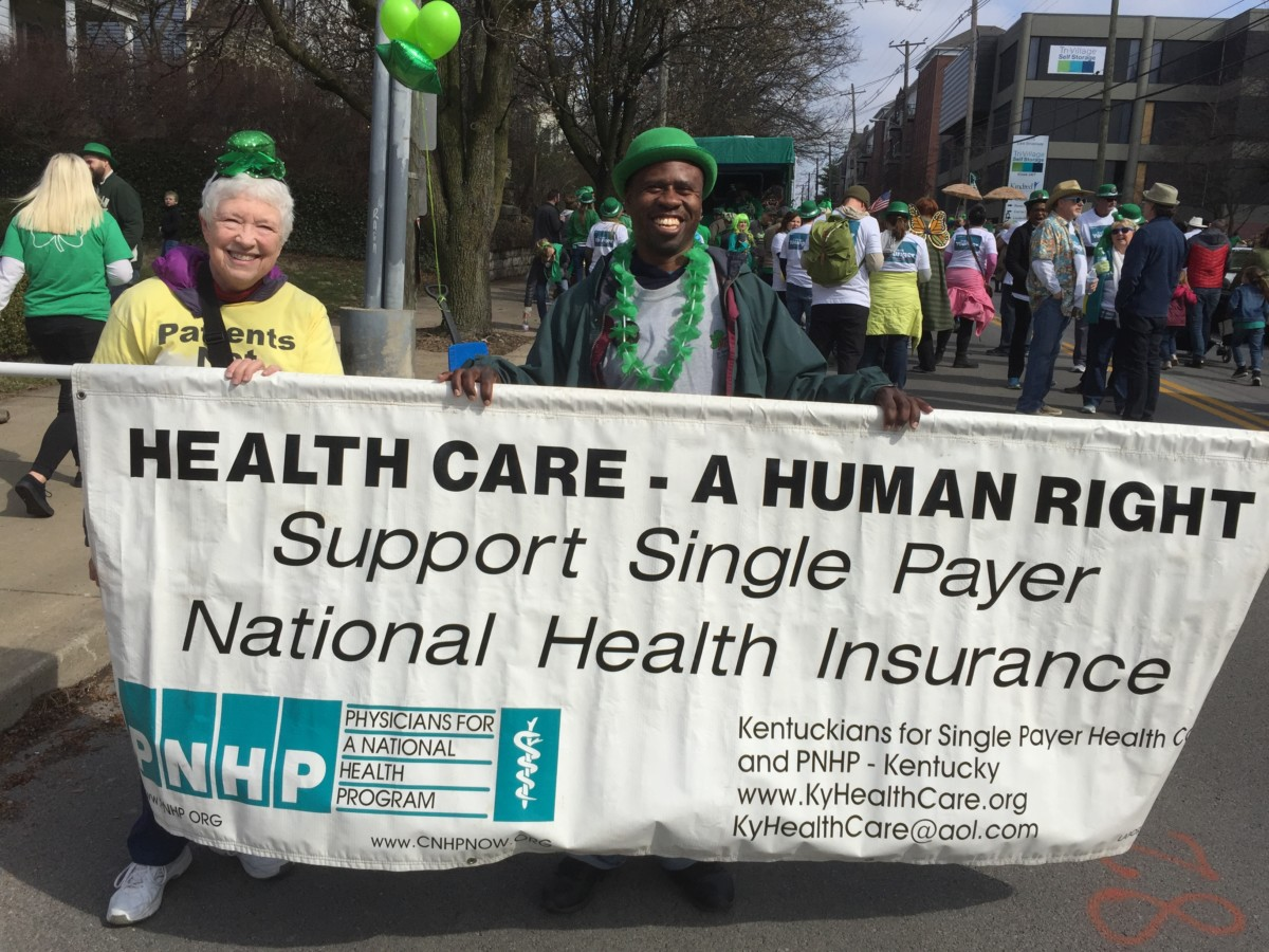 Harriette Seiler and Antonio Wilson in Louisville's St. Pat's Parade