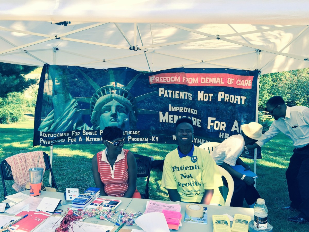 The Kentuckians for Single Payer Health Care booth at Labor Day at the Zoo.