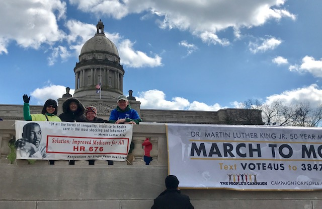Kentuckians for Single Payer Health Care in Frankfort on April 4, 2018.  Photo by Harriette Seiler