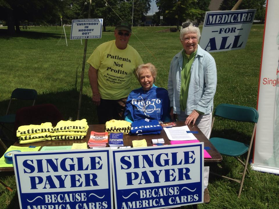Bill Mahan at his single payer booth in Lexington. He was joined by Kay Tillow and Harriette Seiler.