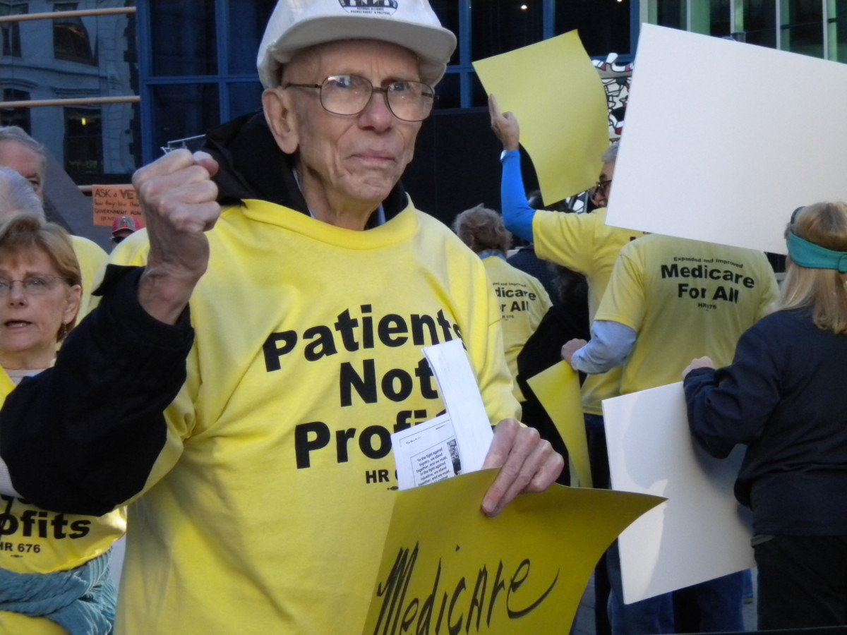 Tom Moffett at a Louisville demonstration for single payer health care.