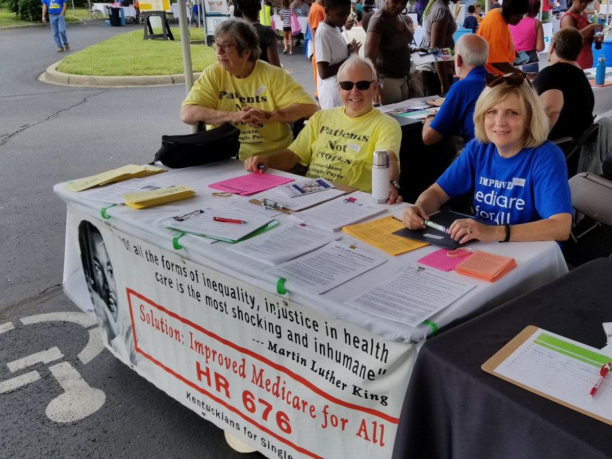 Peg Box, Charlie Casper, and Dr. Barbara Casper at the Park DuValle Health Fair. Harriette Seiler and Dr. Edgar Lopez also helped. Photo by Edgar Lopez.