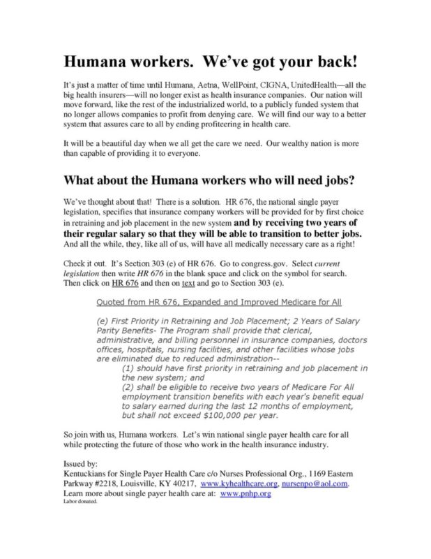 The flyer distributed to Humana workers.