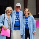 Dr Carol Paris, Dr. Garrett Adams, and Dr. Margaret Flowers at the Humana demonstration.