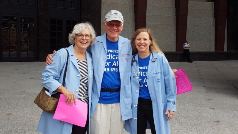 Dr Carol Paris, Dr. Garrett Adams, and Dr. Margaret Flowers at the Humana demonstration.