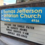 The sign outside the church.