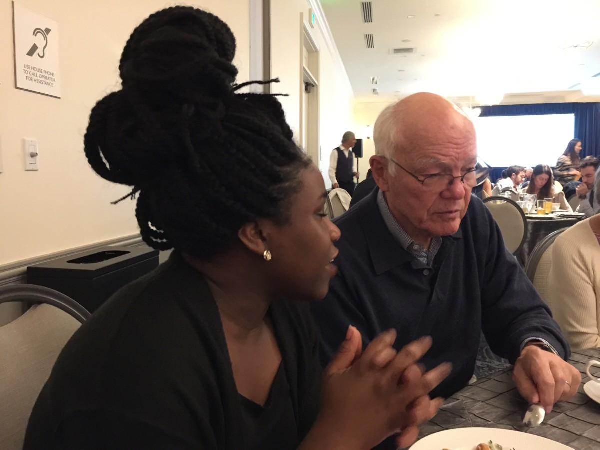 Memphis first year medical student Louisa Ekem with Dr. Garrett Adams of Louisville at the Saturday dinner.