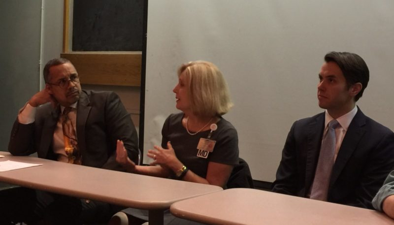 Dr. Wayne Tuckson, Dr. Barbara Casper, State Senator Morgan McGarvey