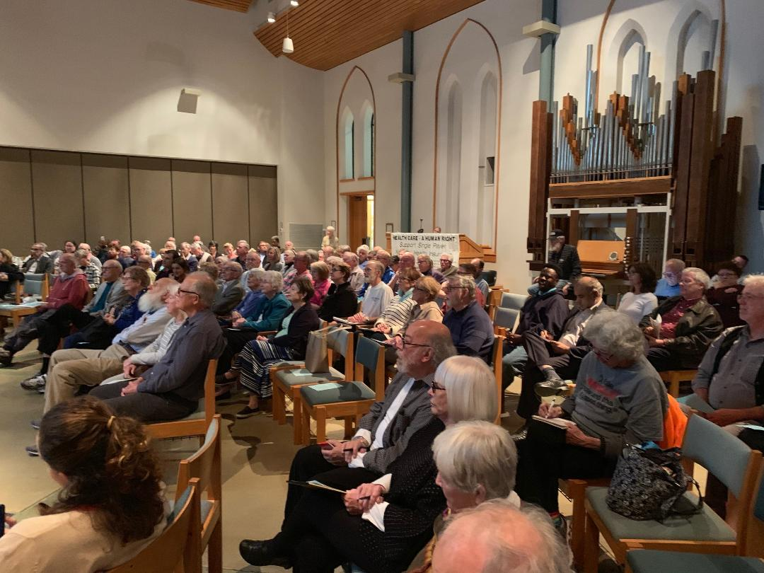 A part of the audience at the Unitarian Church
