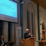 Garrett Adams, MD, founder of Phaysicians for a National Health Program--Kentucky, introduces Professor Gerald Friedman