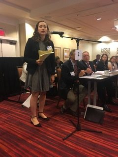 Sarah Parker speaking to the Kentucky Medical Association, September 2019