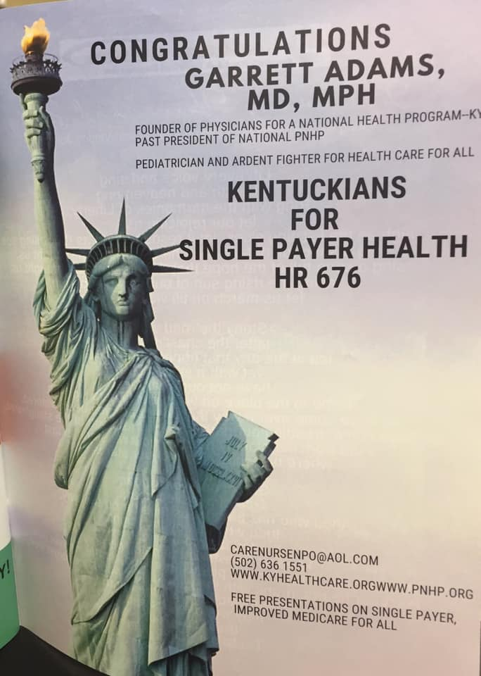 Kentuckians for Single Payer Health Care Ad in the Unity Dinner Journal